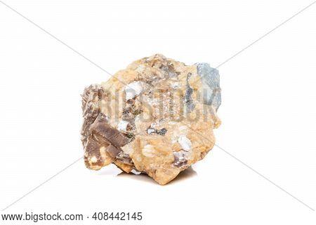 Macro Mineral Stone Corundum In Rock A White Background