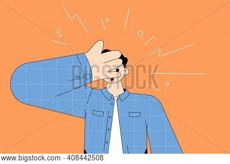 Shock, Surprise, Feeling Embarrassed Concept. Young Surprised Man Cartoon Character Feeling Shock Co