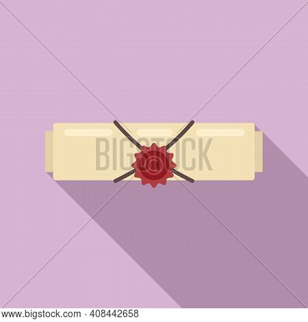 Notary Certificate Icon. Flat Illustration Of Notary Certificate Vector Icon For Web Design