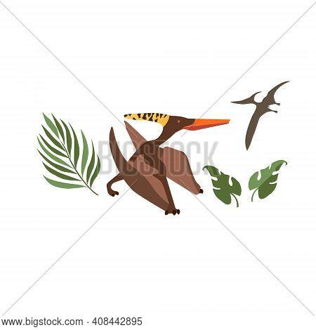Prehistorical Background. Pterodactylus Image. Flat Illustartion.jurassic World.