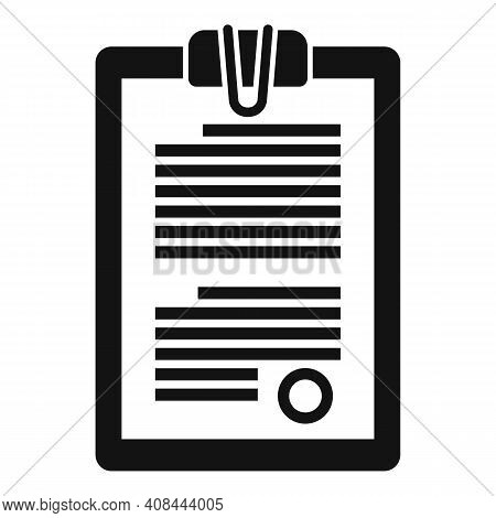 Notary Clipboard Icon. Simple Illustration Of Notary Clipboard Vector Icon For Web Design Isolated O