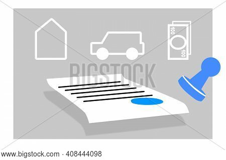 Document With Stamp, Legal Registration Of A Contract, Agreement Or Notary Statement., Last Will And