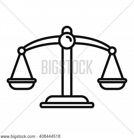 Notary Scales Icon. Outline Notary Scales Vector Icon For Web Design Isolated On White Background
