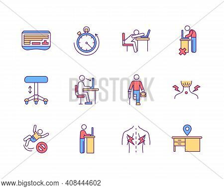 Ergonomics In Workplace Rgb Color Icons Set. Sedentary Work Environment. Healthy Posture. Cultural D