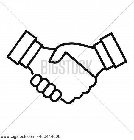 Notary Handshake Icon. Outline Notary Handshake Vector Icon For Web Design Isolated On White Backgro