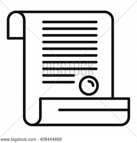 Notary Diploma Icon. Outline Notary Diploma Vector Icon For Web Design Isolated On White Background