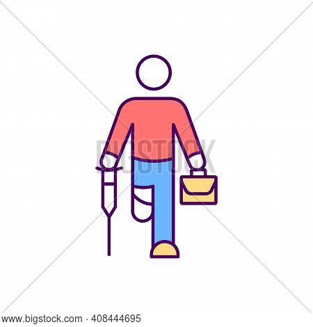 Disabled Persons In Workplace Rgb Color Icon. Employees With Disabilities. Mental, Physical Impairme