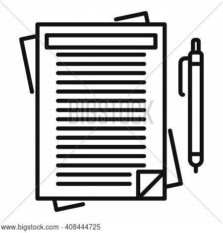 Notary Paper Pen Icon. Outline Notary Paper Pen Vector Icon For Web Design Isolated On White Backgro