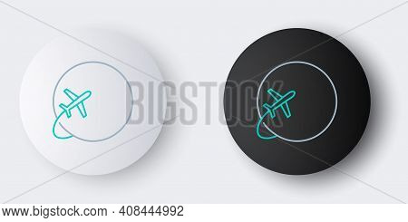 Line Globe With Flying Plane Icon Isolated On Grey Background. Airplane Fly Around The Planet Earth.