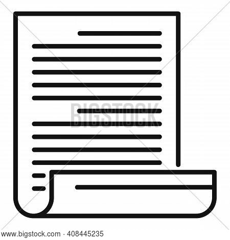 Notary Testament Icon. Outline Notary Testament Vector Icon For Web Design Isolated On White Backgro