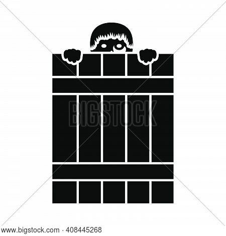 Criminal Peeping From Fence Icon. Black Stencil Design. Vector Illustration.