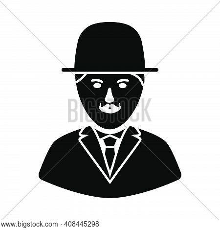 Detective Icon. Black Stencil Design. Vector Illustration.