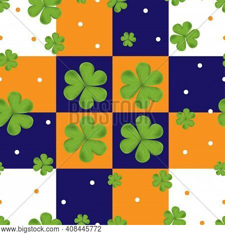 Vector Seamless Clover Irish Shamrock Leaves On Blue,orange And White Background.pattren Irish Symbo
