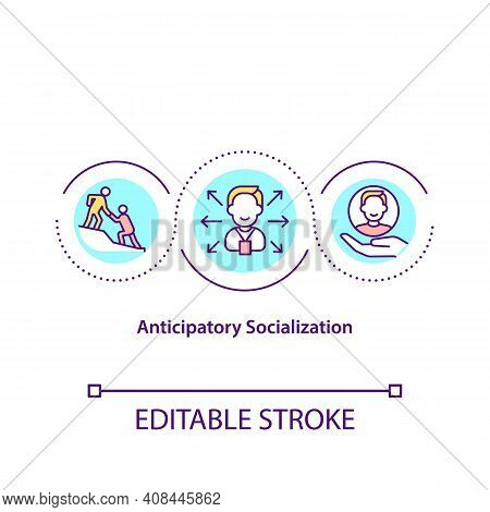 Anticipatory Socialization Concept Icon. Social Interaction In Office. Employee Adaptation. New Work