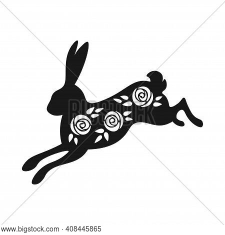 Easter Black And White Jumping Bunny Silhouette. Spring Bunny With Rose Flowers Inside. Black And Wh