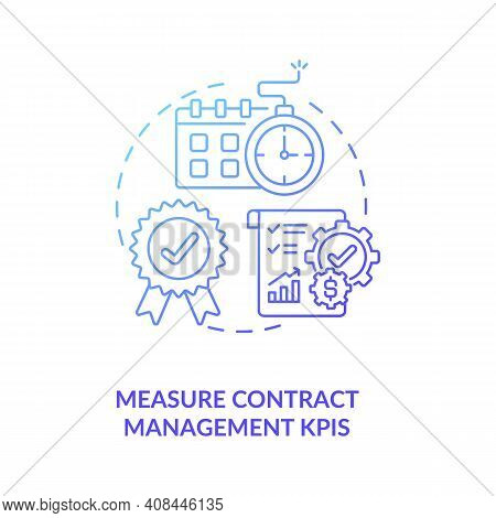 Measure Contract Management Kpis Concept Icon. Efficient Contract Management Tips. Information Betwe