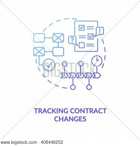 Tracking Contract Changes Concept Icon. Contract Management Software Functions For Customers. Contra