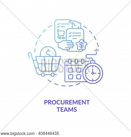 Procurement Teams Concept Icon. Contract Management Software Users. Provide Modern Services To Proje