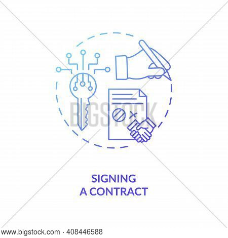 Signing A Contract Concept Icon. Contract Lifecycle Steps. Agreeing To Rules And Terms Between Two D