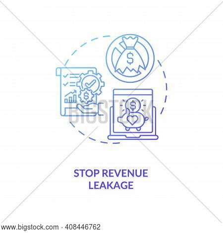 Stop Revenue Leakage Concept Icon. Contract Management Automation Benefits For Company. Contract Man