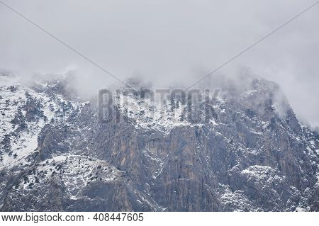 Rugged Mountain Landscape - Snow-capped Rocky Cliffs With Rare Pine Trees Hide In Cloudy Fog
