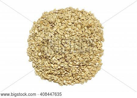 Pumpkin Seeds On A White Background In Abundance. Collection, Storage And Preparation Of Raw Seeds F