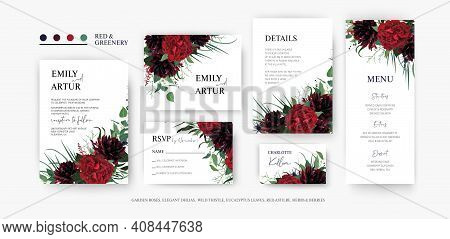 Burgundy Red And Greenery Elegant Floral Vector Set. Wedding Invite, Rsvp, Menu, Place Card, Save Th