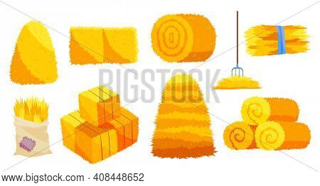 Collection of hays. Flat illustration dried haystacks with fork. Rolls of hay. A supply of feed for livestock, the object of agriculture. Farm straw bale nature agriculture