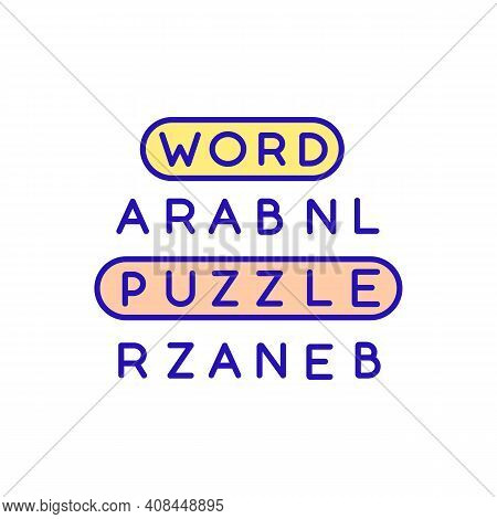 Vocabulary Games Rgb Color Icon. Word Puzzle. Practicing Vocabulary In Class. Reviewing Vocab. Train