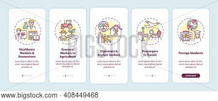 Travel Ban Exemption Categories Onboarding Mobile App Page Screen With Concepts. Seasonal Workers Wa