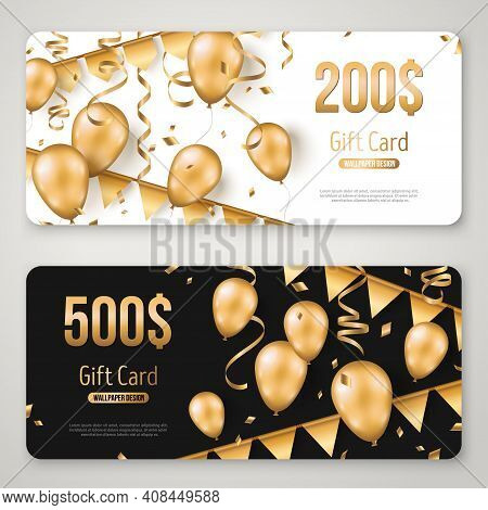 Happy Birthday Gift Card Set Template. Sale Voucher Layout. Vector Illustration. Golden Foil Confett