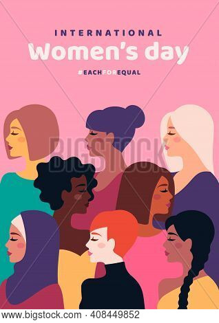 Happy International Womens Day. Vector Illustration. Woman Different Cultures. Freedom, Independence