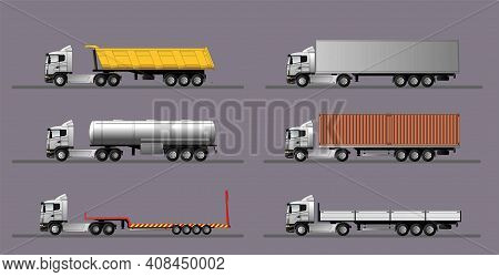 A Set Of Images Of A Modern European Truck With Different Variants Of Semi-trailers. Flat Style Line