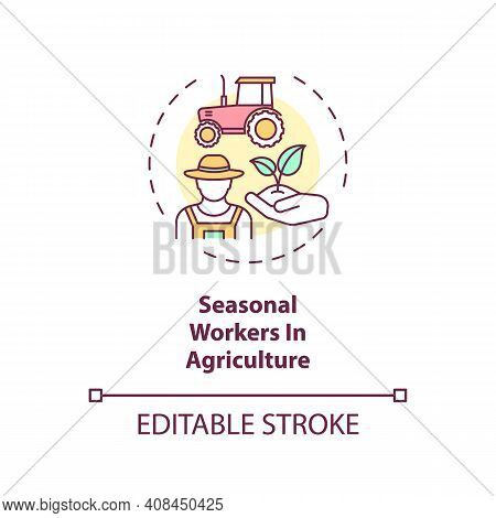Seasonal Workers In Agriculture Concept Icon. Travel Ban Exemption Categories Idea Thin Line Illustr