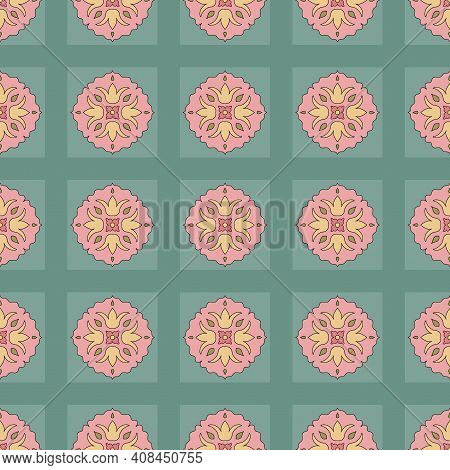 Seamless Pattern From Square Ceramic Tiles. Geometric Pattern With Lotus Flowers And Leaves. Portugu