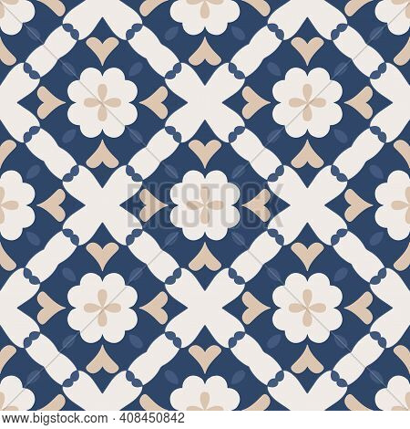 Seamless Pattern From Square Ceramic Tiles. Geometric Pattern Of Rhombuses With Hearts And Flowers.