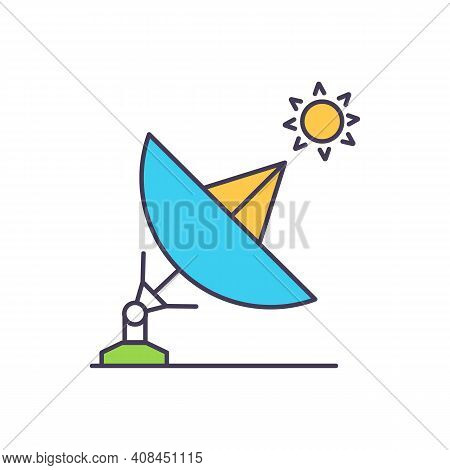 Energy From Sun In Radiation And Light Rgb Color Icon. Accumulator Battery And Solar Panel. Assembly