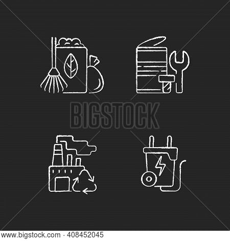 Environmental Concern Chalk White Icons Set On Black Background. Yard Waste Collection. Scrap Iron A