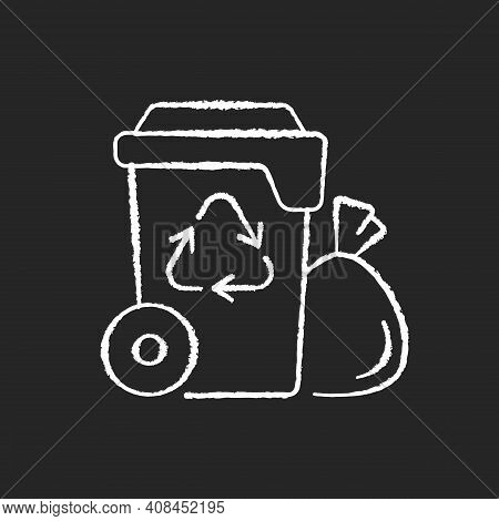 Residential Waste Collection Chalk White Icon On Black Background. Garbage Pickup From Home. Househo
