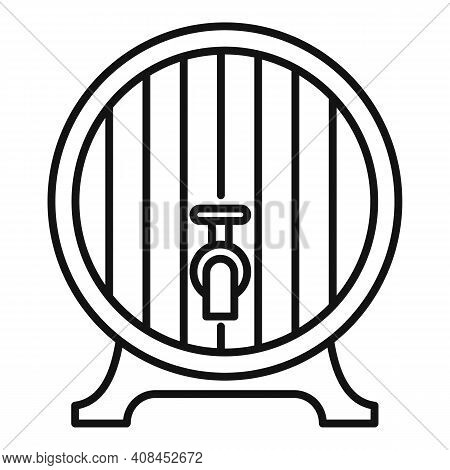 Wood Wine Tap Barrel Icon. Outline Wood Wine Tap Barrel Vector Icon For Web Design Isolated On White