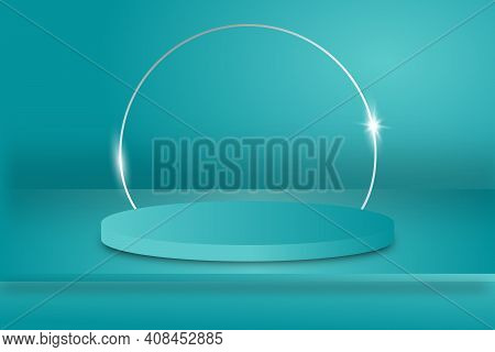Background Vector 3d Blue Rendering With Podium And Minimal Blue Wall Scene