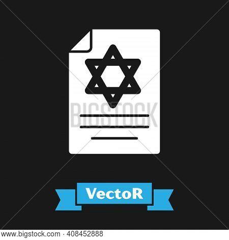 White Torah Scroll Icon Isolated On Black Background. Jewish Torah In Expanded Form. Star Of David S