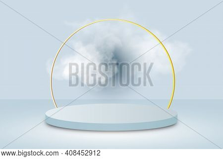 Background Vector 3d Blue Rendering With Podium And Minimal Cloud White Scene