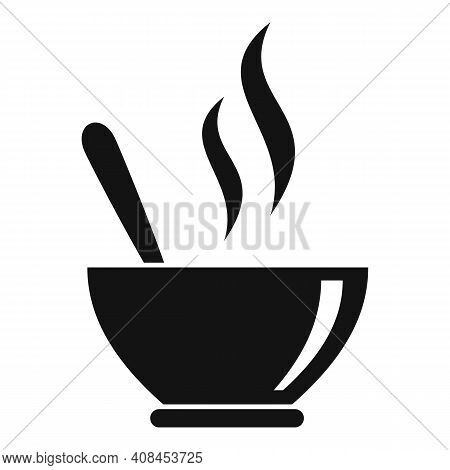 Hot Soup Bowl Icon. Simple Illustration Of Hot Soup Bowl Vector Icon For Web Design Isolated On Whit