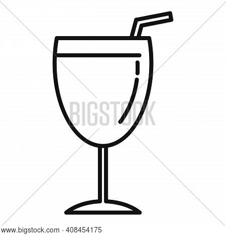 Mulled Wine Glass Icon. Outline Mulled Wine Glass Vector Icon For Web Design Isolated On White Backg