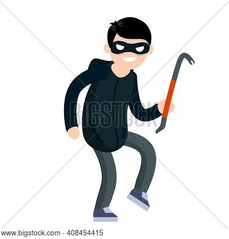 Thief With Crowbar. Criminal Problem. Man Robber In Black With Mask. Male Offender Sneaks. Cartoon F
