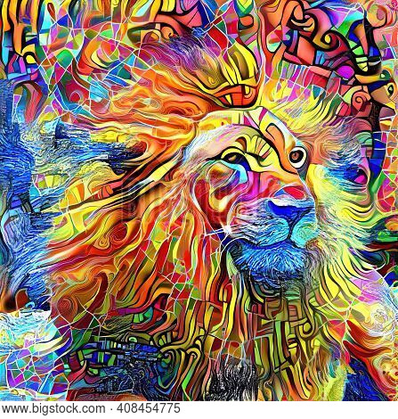 An Artistically Designed And Digitally Created Lion Head Portrait.