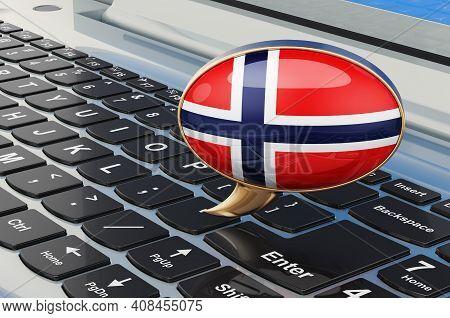 Learn Norwegian Online Concept. Speech Balloon With Norwegian Flag, 3d Rendering Isolated On White B