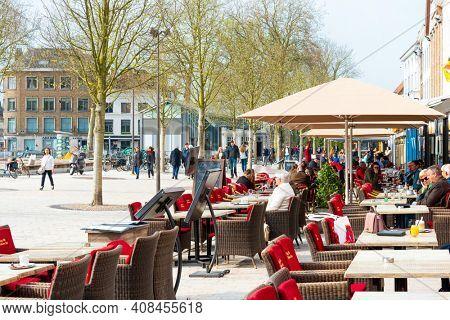 BRUGES, BELGIUM - April 14, 2018: Restaurants in Bruges, Belgium