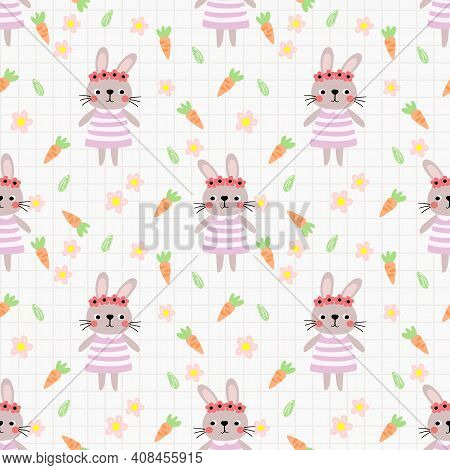 Lovely Bunny Girl And Flower Seamless Pattern